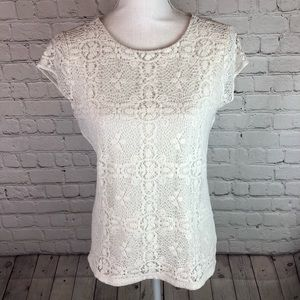 The Limited lace front short sleeve top ivory M